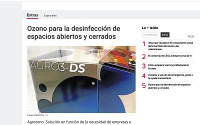 Ozono para la desinfección de espacios abiertos y cerrados. Articulo en el diario 'Las Provincias'.