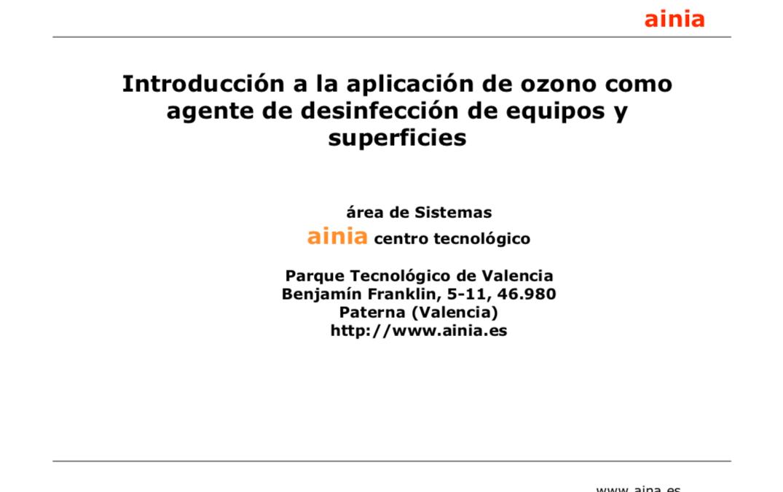 AINIA – Introducción a la aplicación de ozono como agente de desinfección de equipos y superficies.