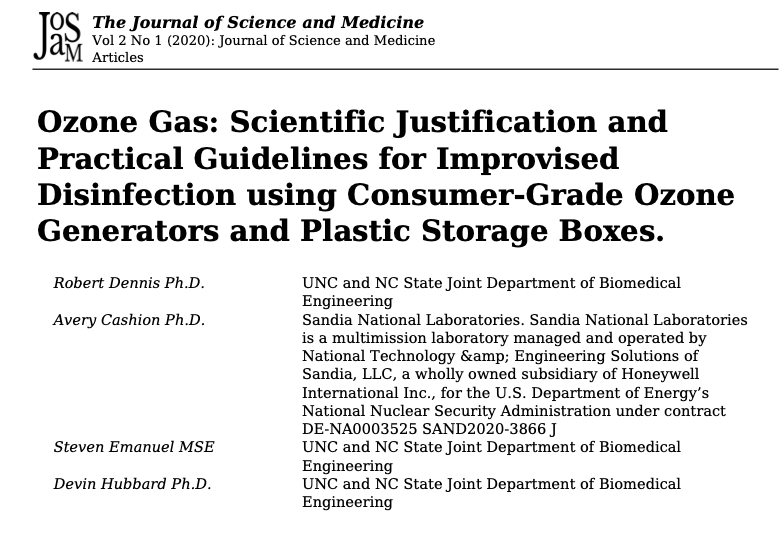 The Journal of Science and Medicine – Gas ozono: justificación científica y pautas prácticas para la desinfección con ozono